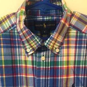 🌟Ralph Lauren boys size 5 plaid button down shirt